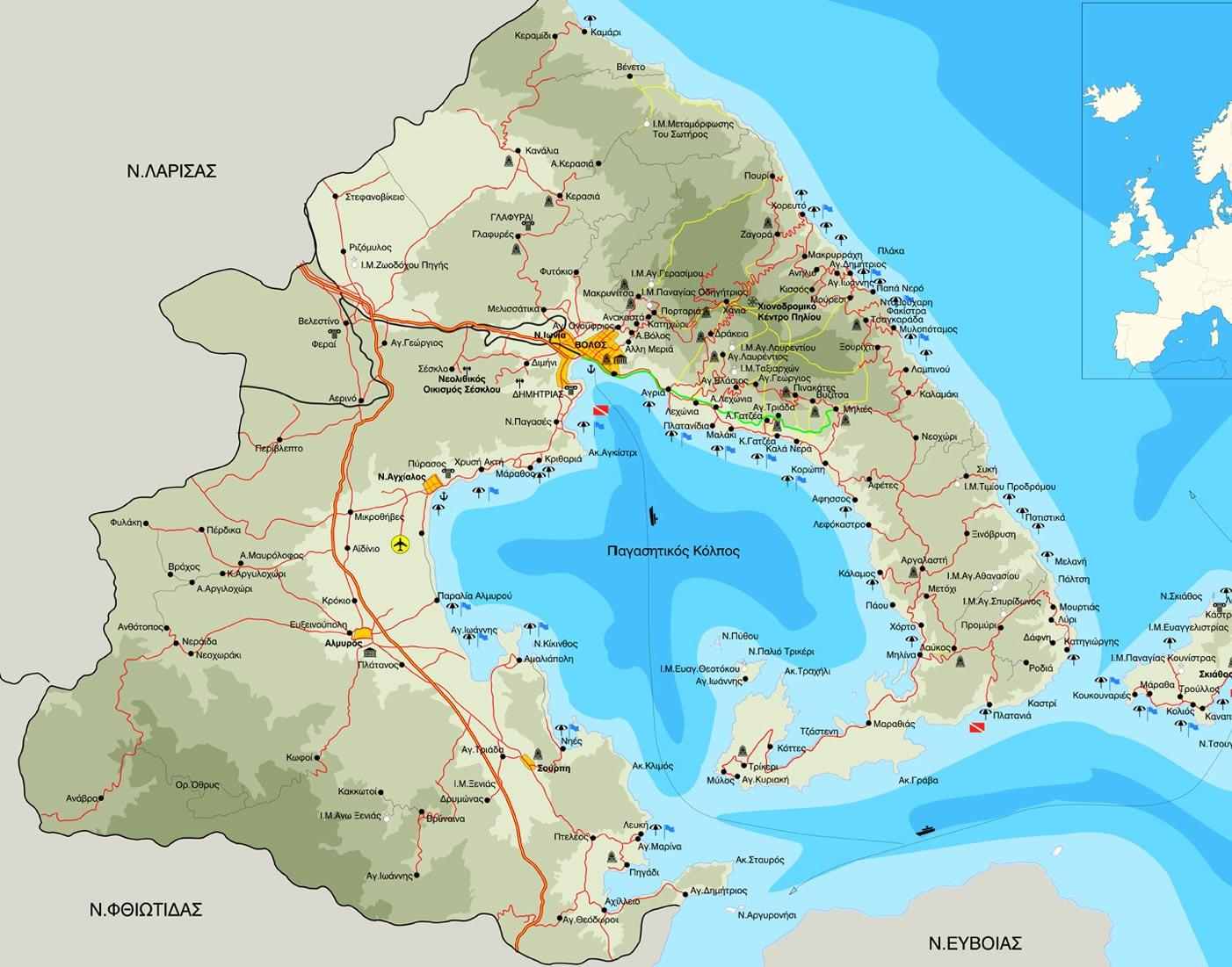 Χάρτης Πηλίου και Μαγνησίας 850a7693075